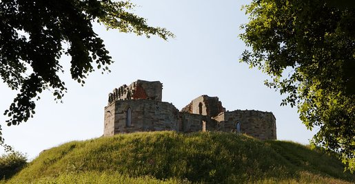 Stafford Castle photo framed by treeline, sitting atop the motte-and-bailey during dusk lighting