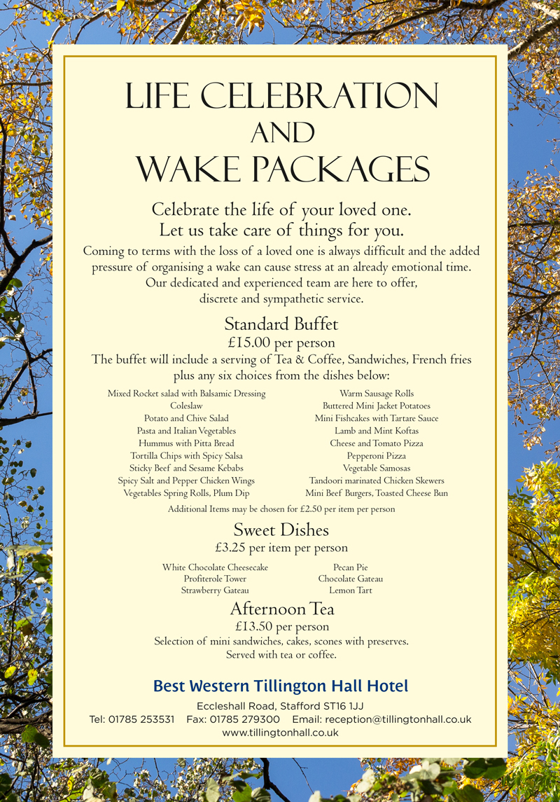 Tillington Hall Hotel Life Celebration and Wake Packages