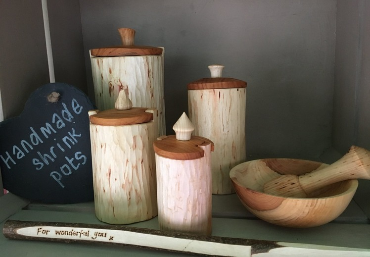 An image example of an exhibitor's handmade shrink pots - Made from wood