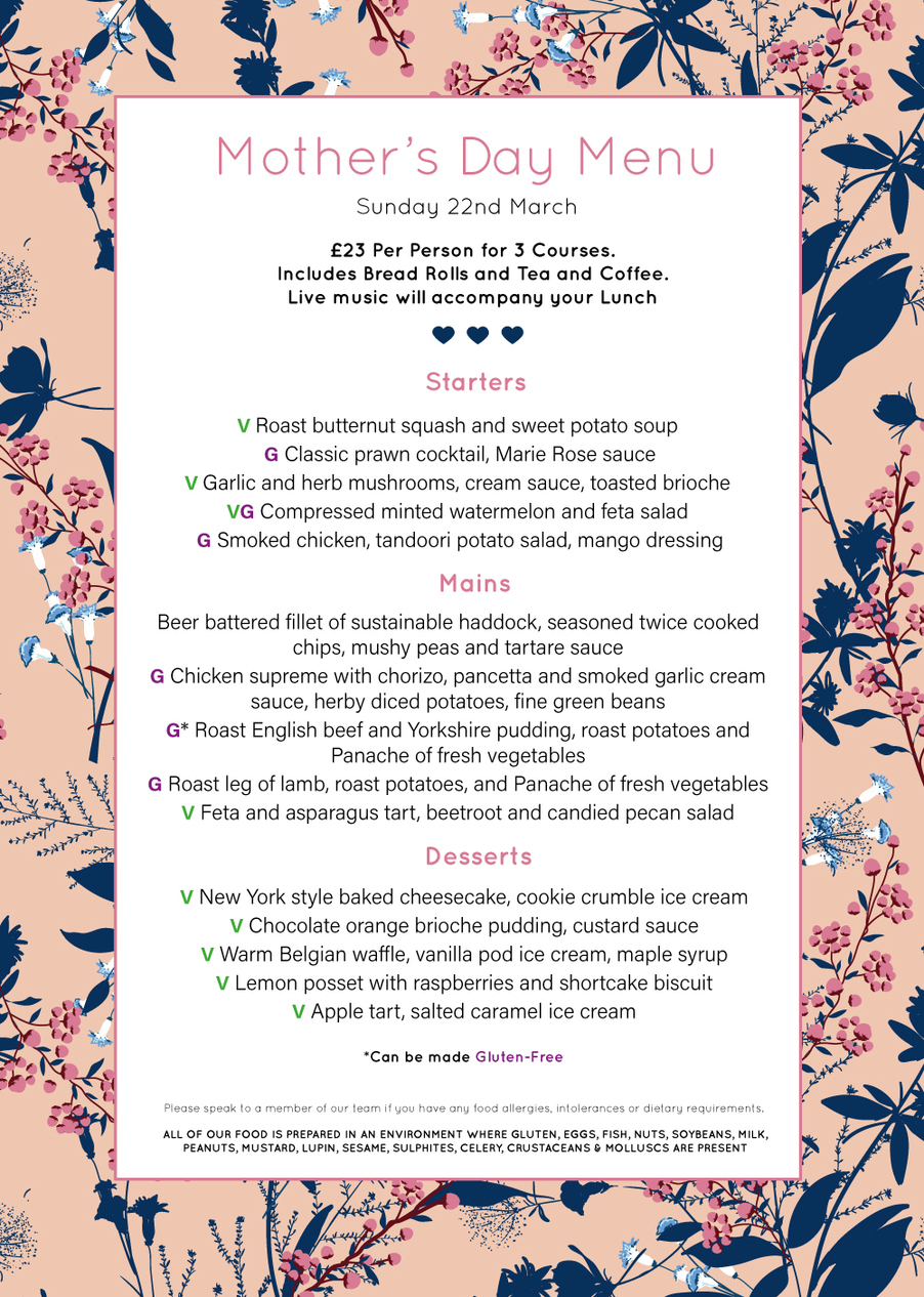 An image of the Mother's Day Menu for Tillington Hall Hotel